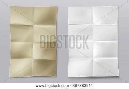 Folded Blank Paper Sheets Top View. Vector Realistic Mockup Of White And Kraft Paper With Crossing C