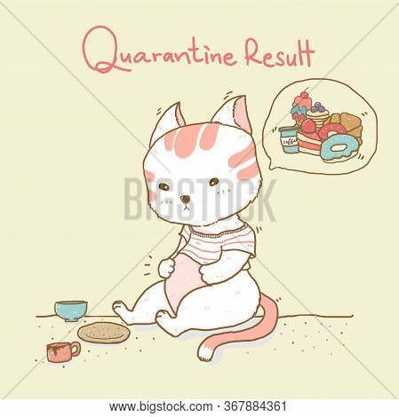 Cute Fat Cat Looking At A Big Belly , Thinking About Sweet Snacks With Quarantine Result Word In Bac