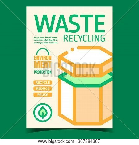 Waste Recycling Promotional Leaflet Poster Vector. Waste Bucket For Environment Protection And Natur
