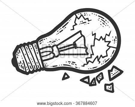 Broken Incandescent Light Bulb, Glass. Sketch Scratch Board Imitation.