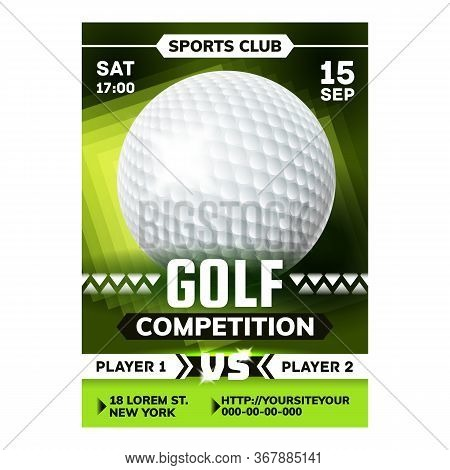 Golf Sportive Game On Meadow Flyer Poster Vector. Golf Ball And Club Golfer Player Sportive Equipmen
