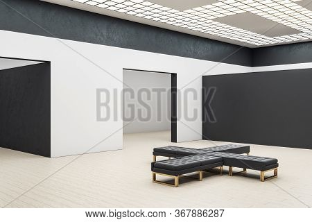 Contemporary Gallery Hall With Empty Black Wall And Bench. Gallery Concept. Mock Up, 3d Rendering