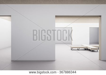 Modern Gallery Hall Interior With Blank Wall And Bench. Gallery Concept. Mock Up, 3d Rendering