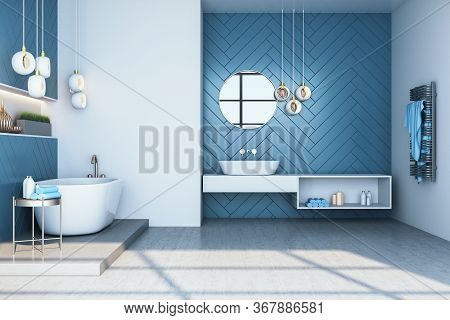 Modern Blue Bathroom Interior With Bath And Decorative Objects. Style And Hygiene Concept. 3d Render
