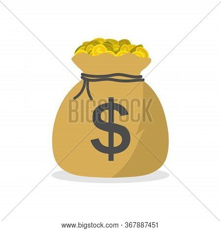 Sack With Money. Bag With Gold Coins Of Dollars. Icon Of Moneybag. Symbol Of Cash For Pay. Million O