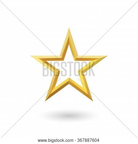 Vector 3d Render, Isolated Gold Star On A White Background. Golden Emblem Of Victory. Symbol Of Best