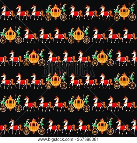 Princess Fantasy Carriages With Coachmen And Horses. Seamless Background Pattern. Vector Illustratio