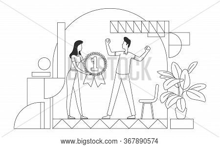 Employee Recognition Award Thin Line Vector Illustration. Employer And Best Worker Outline Character