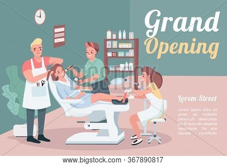 Grand Opening Banner Flat Vector Template. Brochure, Poster Concept Design With Cartoon Characters.