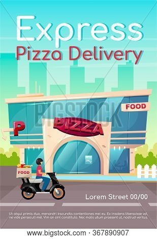 Express Pizza Delivery Poster Flat Vector Template. Pizzeria, Restaurant. Fast Food Order. Catering
