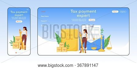Tax Payment Expert Adaptive Landing Page Flat Color Vector Template. Financial Consultancy Mobile An