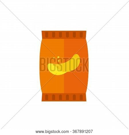 Icon Of Potato Chips Package. Snack, Appetite, Diet. Fast Food Concept. Can Be Used For Topics Like
