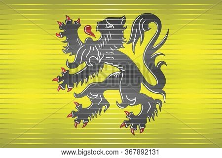 Shiny Flag Of Flanders - Illustration,  Three Dimensional Flag Of Flanders
