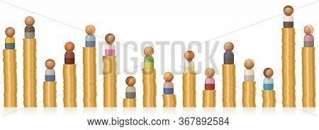 Income Differentials Of Rich And Poor People On Low And High Coin Towers. Symbol For Different Earni
