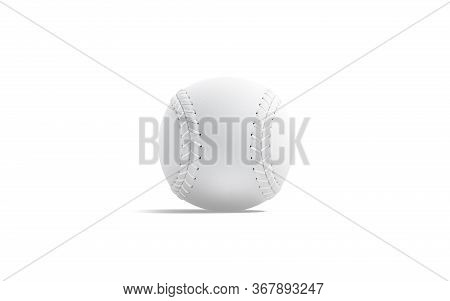 Blank White Baseball Ball With Seam Mock Up, Front View, 3d Rendering. Empty Leather Usa Fastball Fo