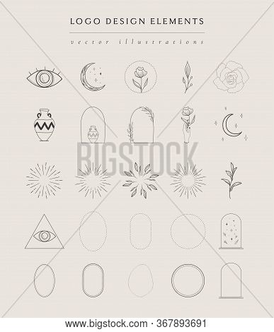Collection Of Vector Hand Drawn Logo Design Elements, Geometric Frames, Borders, Detailed Decorative