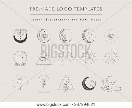 Collection Of Vector Hand Drawn Logo Design Templates And Elements, Frames, Detailed Decorative Illu