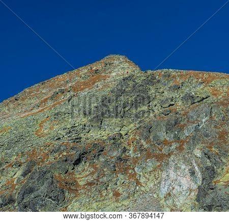 Furkotsky Stit Mountain Peak With Bystre Sedlo Sadle From Furkotska Dolina Valley Near Vysne Wahlern