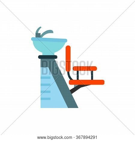 Icon Of Chair For Washing Hair With Basin. Hairstylist, Barbershop, Hairdressing Salon. Hairdresser