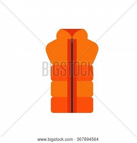 Icon Of Orange Waistcoat With Zipper. Outdoor Clothing, Unisex Clothes, Sport Style. Casual Clothes