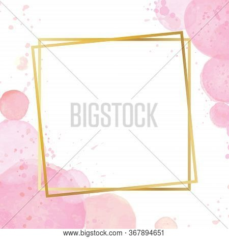 Golden Modern Frame With A Watercolor Effect Background. Nude Rose Brush Strokes. Gold Round Contour