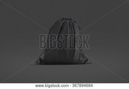 Blank Black Drawstring Backpack Mockup, Dark Background, 3d Rendering. Empty Linen Back Pack Or Pack
