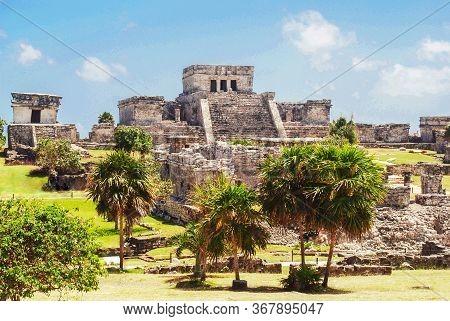 Ancient Tulum Maya Piramid Ruins Archeological Sight