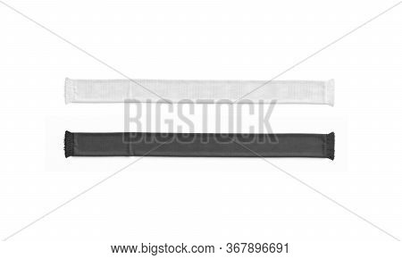 Blank Black And White Knitted Soccer Scarf Mockup Set, Top View, 3d Rendering. Empty Unfolded Footba
