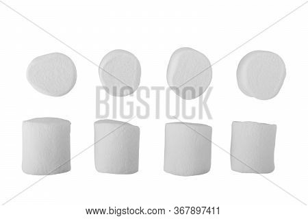 Flying Marshmallows, Isolated On White Background White, Fluffy, Marshmallow, Dessert, Roast, Backgr