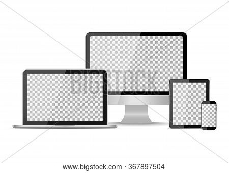 Tablet, Laptop, Phone And Computer Devices. Desktop Monitor, Pc With Smartphone. Mockup With Blank S