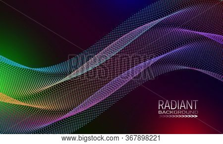 Radiant Background Design With Multicoloured Dots And Lines Stream. Abstract Banner Template.