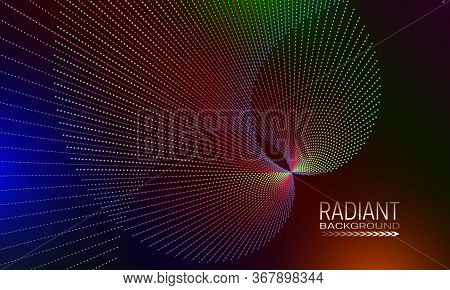 Radiant Background Design With Iridescent Dots And Lines Array. Abstract Banner Background.