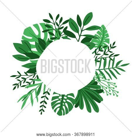 Green Leaves Circle Frame. Herb Leaf Cute Round Botanical Design Border, Palms And Herbs Planting Ga