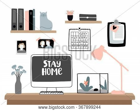Stay And Work At Home. Homes Apartments Computer Desk With Laptop For Homeoffice Isolation Working C