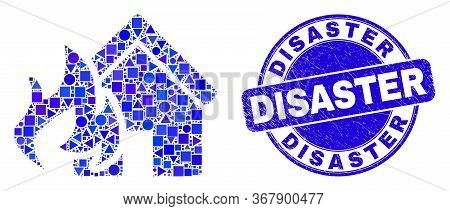 Geometric House Fire Disaster Mosaic Icon And Disaster Watermark. Blue Vector Round Scratched Waterm