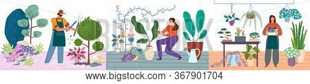 Gardening Persons Caring For Plants Vector Illustration Set. Man Pruning Bushes, Women Water And Car