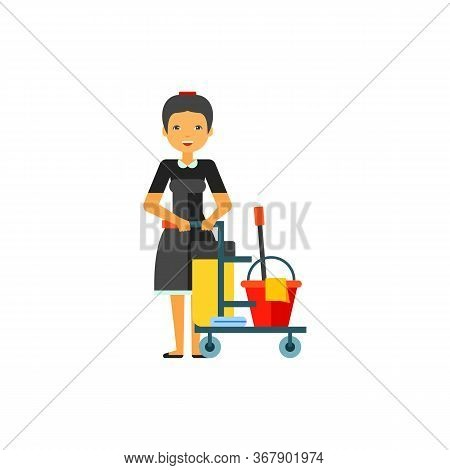 Icon Of Maid With Cleaning Equipment On Cart. Cleaning Service Worker, Room Service, Housemaid. Clea