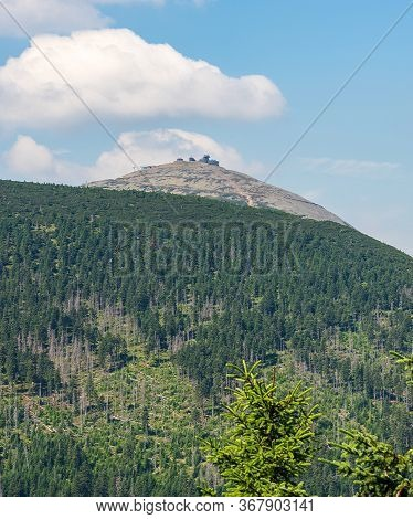Snezka Hill From Hiking Trail Bellow Tabule Hill On Czech - Polish Borders During Beautiful Summer D