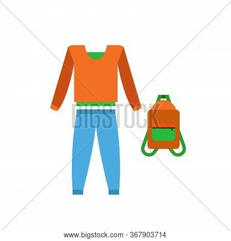 Tracksuit Of Blue Trousers, Brown And Green Sweater And Backpack. Sports Clothes, Fitness Clothes, U