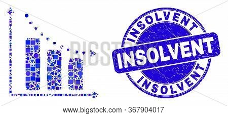 Geometric Recession Bar Chart Mosaic Icon And Insolvent Watermark. Blue Vector Round Grunge Watermar
