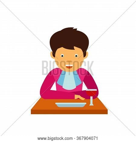 Icon Of Gentleman With Handkerchief Eating At Table. Etiquette, Lunch, Meal. Dinner Concept. Can Be