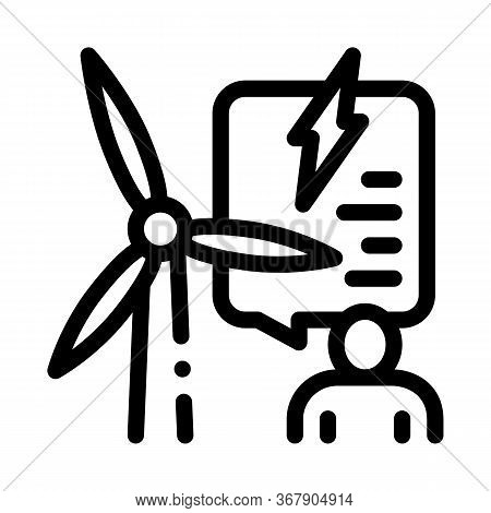 Thought About Benefits Of Wind Energy Icon Vector. Thought About Benefits Of Wind Energy Sign. Isola
