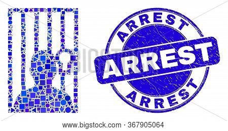 Geometric Jailed Person Mosaic Pictogram And Arrest Seal Stamp. Blue Vector Round Textured Seal Stam