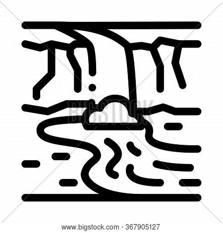 River Among Mountains Icon Vector. River Among Mountains Sign. Isolated Contour Symbol Illustration