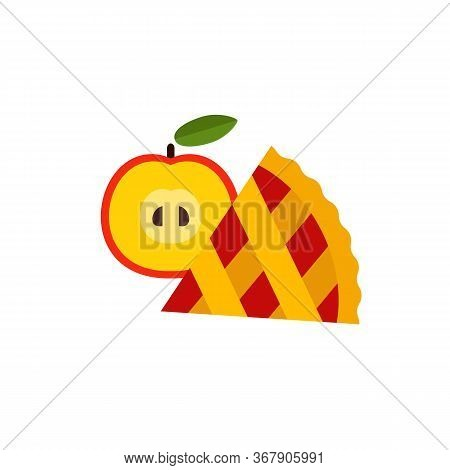 Icon Of Apple Pie Slice With Fruit. Sweet Food, Thanksgiving Pie, Homemade Pie. Dessert Concept. Can