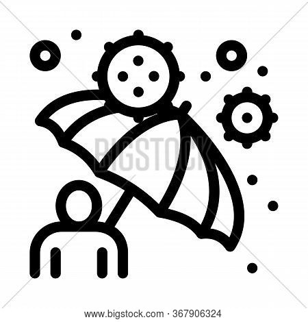 Umbrella Protection Against Viruses Icon Vector. Umbrella Protection Against Viruses Sign. Isolated