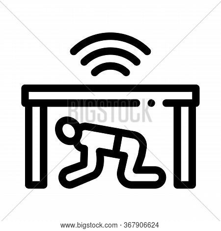 Protection Hide Human Under Table Icon Vector. Protection Hide Human Under Table Sign. Isolated Cont