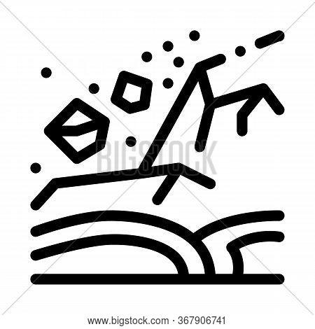 Ertnquake Highlands Icon Vector. Ertnquake Highlands Sign. Isolated Contour Symbol Illustration