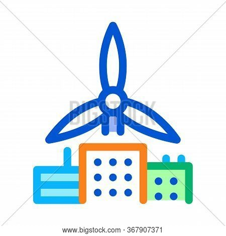 Wind Energy Residential Technology Icon Vector. Wind Energy Residential Technology Sign. Color Symbo