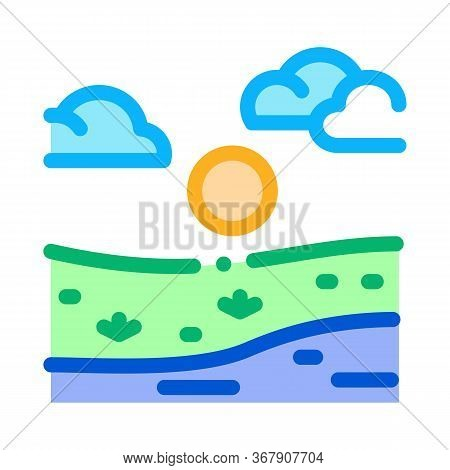 Current River Among Urban City Icon Vector. Current River Among Urban City Sign. Color Symbol Illust